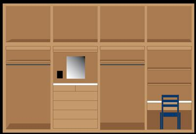 4 short cubbies with equal spacing along the top. 4 tall cubbies at the bottom. Left closet with hanger, 2 cubbie is a dresser, 3 cubbie is a closet with hanger, 4 is a desk with chair.