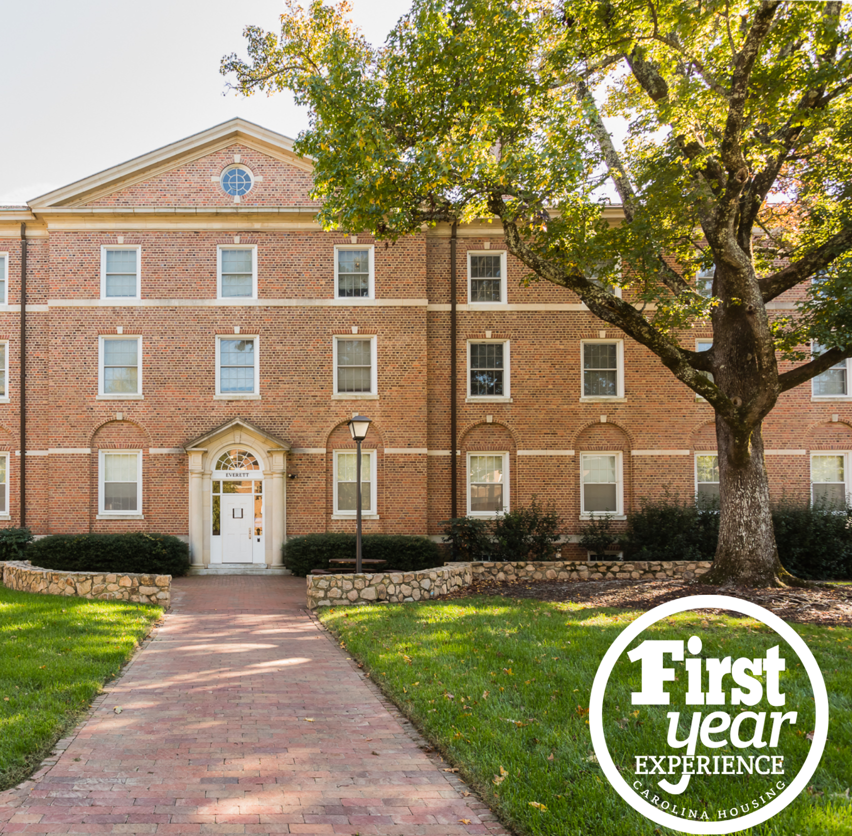 Everett residence hall with the First Year Experience logo in the right corner.