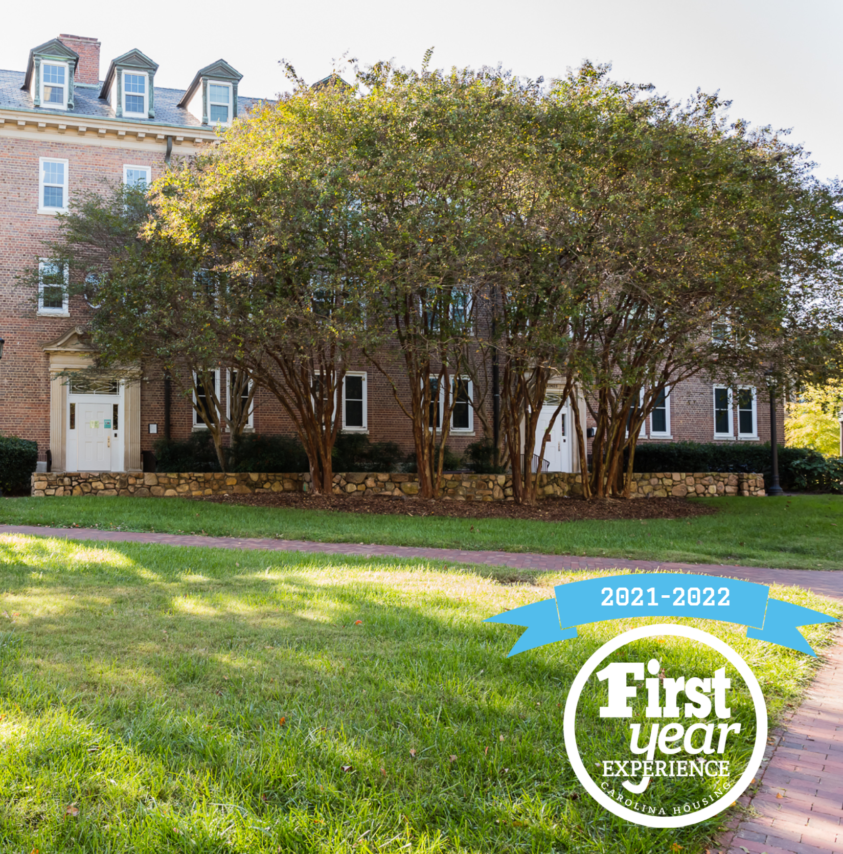 Grimes residence hall with the First Year Experience logo in the right corner.