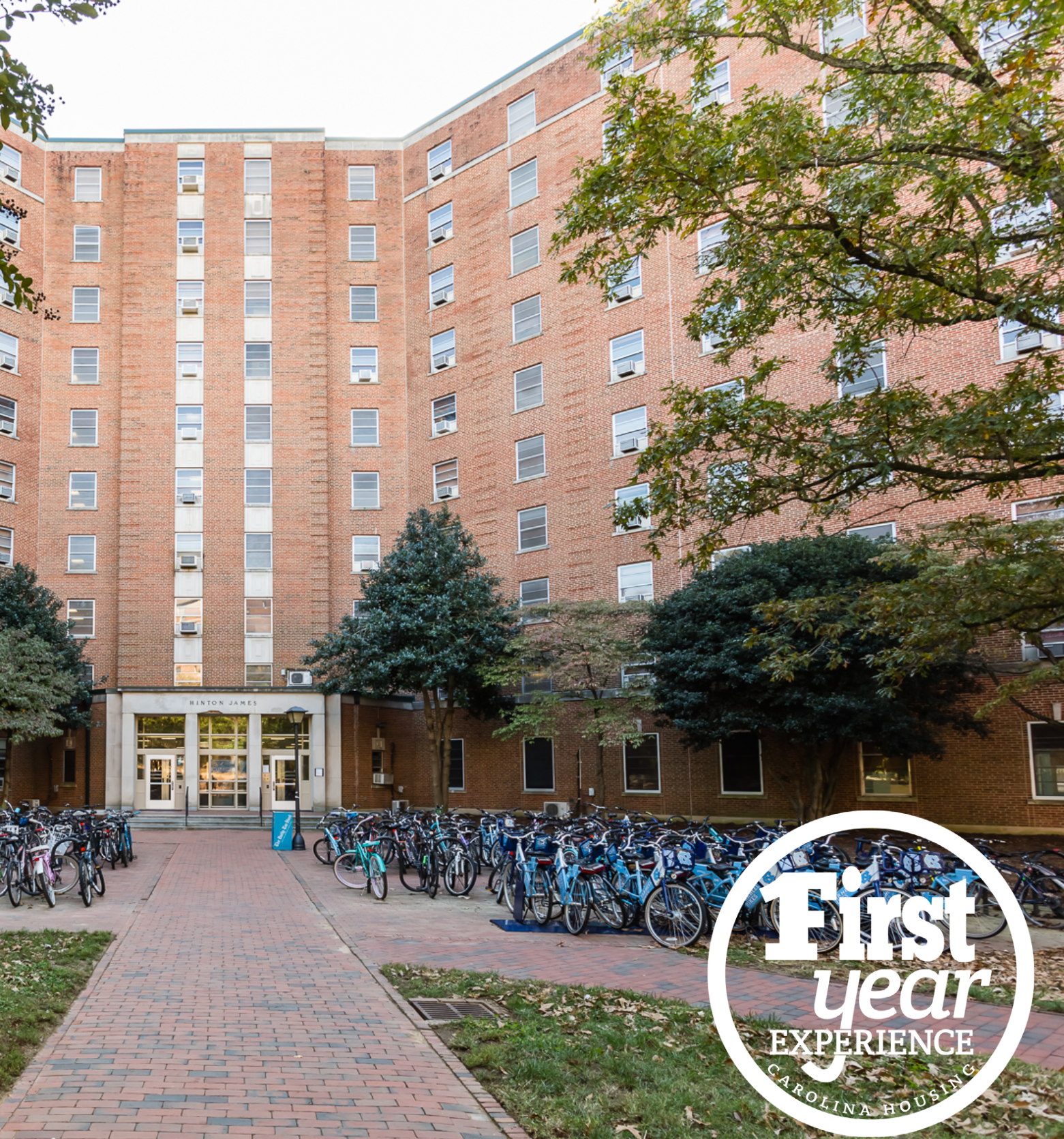 Hinton James residence hall with the First Year Experience logo in the right corner.