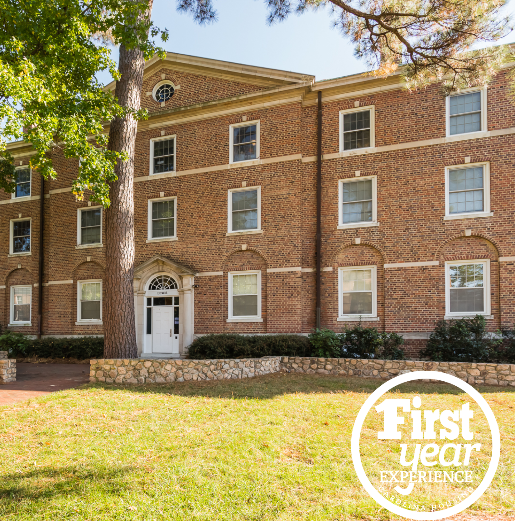 Lewis residence hall with the First Year Experience logo in the right corner.