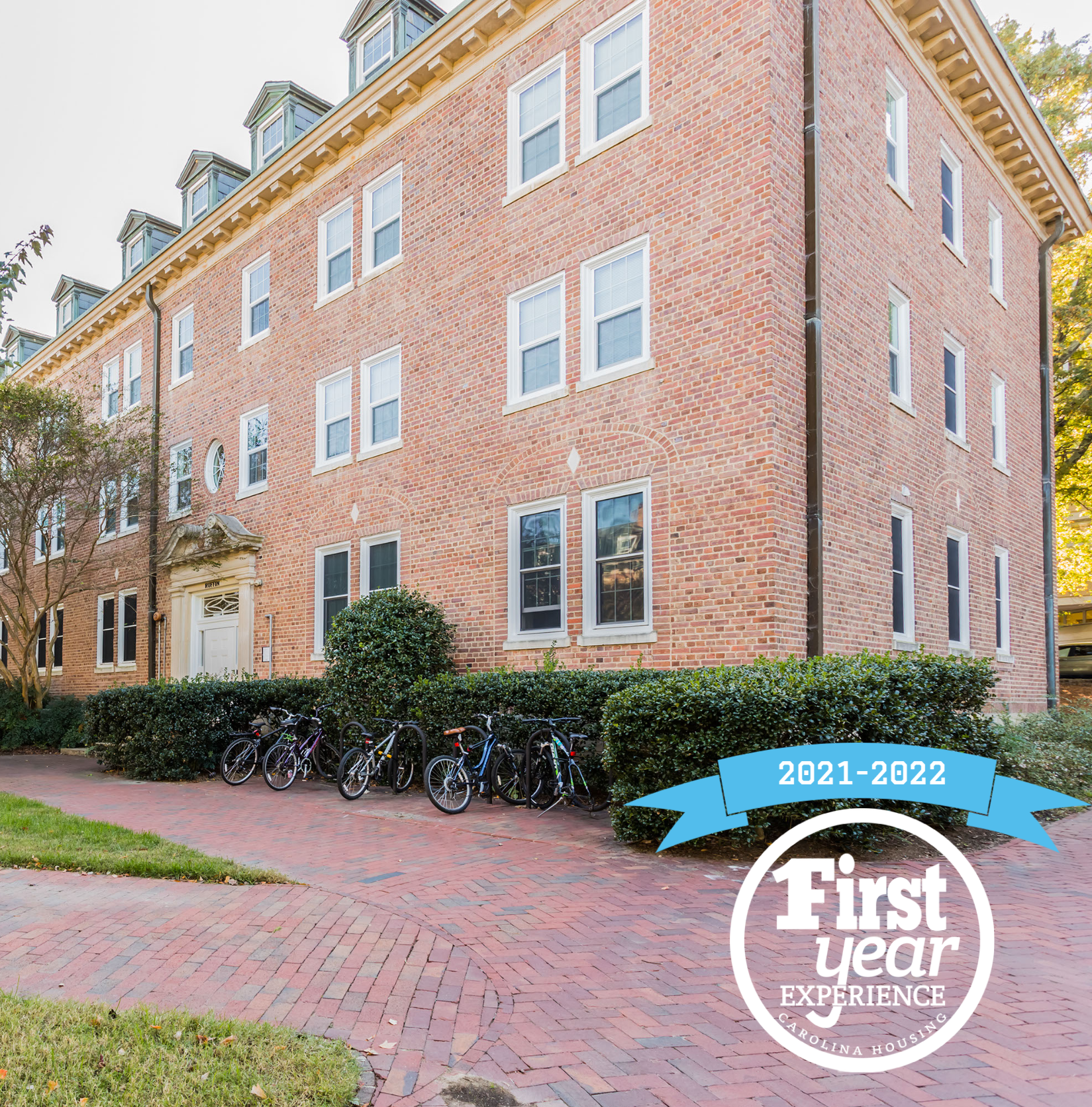 Ruffin Jr. residence hall with the First Year Experience logo in the right corner.