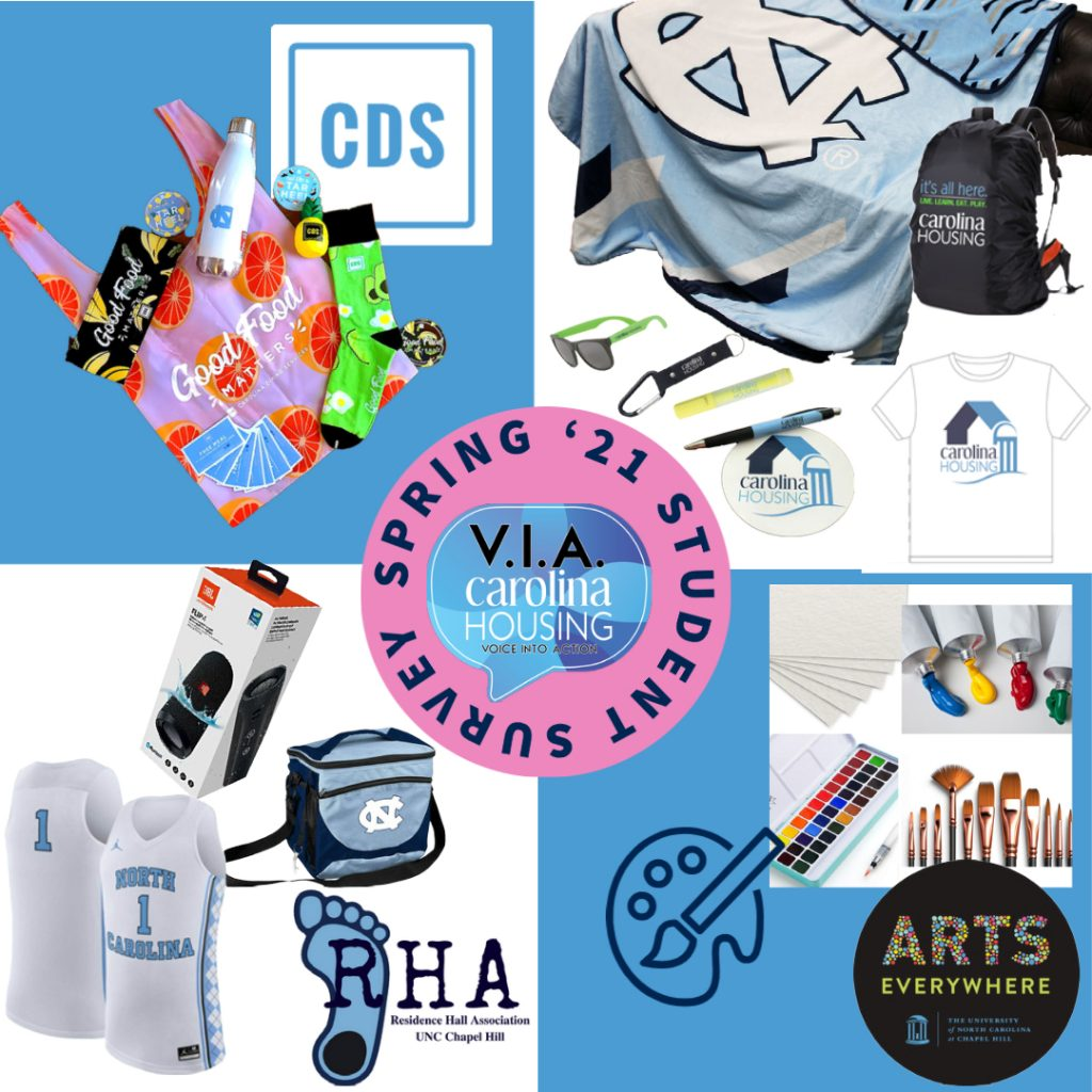 CDS giveaway with a bag, free meal cards, waterbottle; carolina housing giveaway with plush blanket, backpack cover and tshirt; arts everywhere giveaway is art supplies; RHA giveaway a bluetooth speaker carolina jersey and cooler.